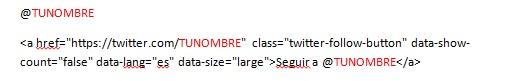 Código botón twitter
